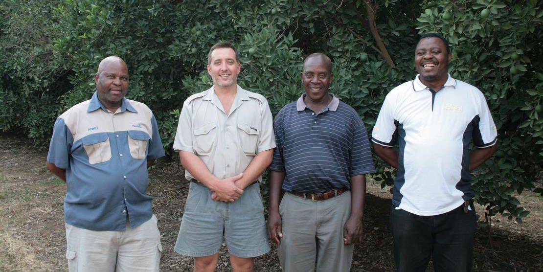 From left to right: Samson Qomondi, Johan du Preez, Joseph Hlongo, and Jonas Mogale